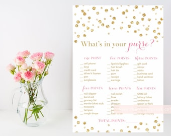 What's in your purse? Gold glitter confetti printable shower game, pink and gold, purse baby bridal shower game, INSTANT DOWNLOAD 008