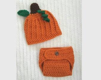Pumpkin baby hat, newborn photo prop, baby girl gift, hat and diaper cover set, baby shower gift, 0-3 month baby gift, baby boy hat, crochet