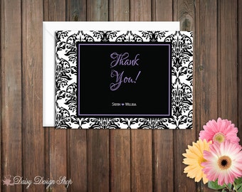 Thank You Cards - Damask Flourishes in Customizable Colors - Set of 10 with Envelopes