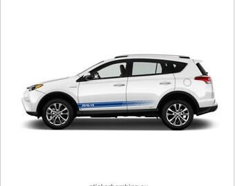 "Toyota Rav4 lower panel door stripes vinyl graphics and decals kits 2012 2017 - ""Rav4 Stripes"""