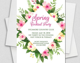 Pink Roses Watercolor Bridal Shower Invitation, Floral Bridal shower, Ladies Luncheon Invitation, Bridal Brunch Invite, Bridal Luncheon