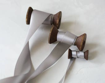 "Silver Gray Luster Double-Faced Satin Ribbon (with Wooden Spool) - 7/8"" (10 yards) / 1.5"" (5 yards)"
