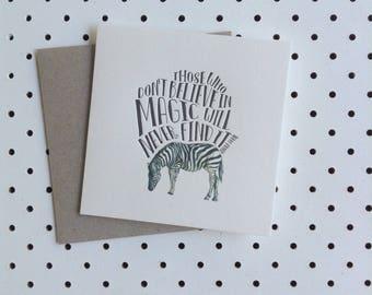 Letterpress Card - Zebra Roald Dahl Quote