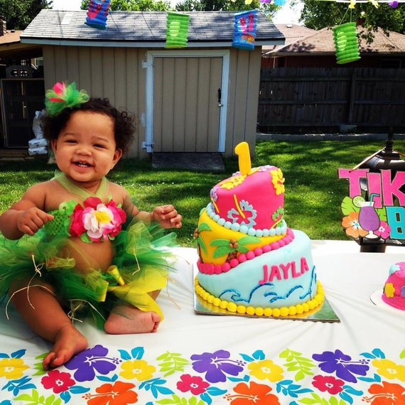 Baby Girl Birthday Outfit Luau Tutu Outfit 1st 2nd 3rd