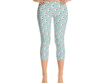 Bull Terrier Capris - Women's Capri Leggings - Capri Pants - Dog yoga pants - Leggings - Dog leggings - Women's Leggings - fun pants - Dog