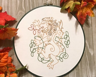 Celtic Lion Embroidery Hoop Art - Lion Decor - Irish Decor - Celtic Art