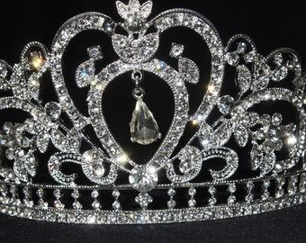 dancing diamond heart Large SILVER CRYSTAL RHINESTONE crown junior bridesmaid or bride wedding crown tiara