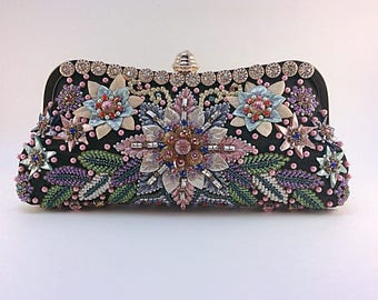 Floral pattern, unique handcrafted clutch, motif embroidery bag, wedding clutch,embellished clutch,prom clutch,party clutch,beaded clutch .