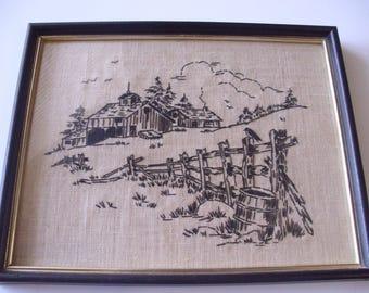 Vintage Embroidered Picture, Framed Needlework Embroidery,  Hand Embroidered, Black and White Embroidery,  Needlework Picture, Wall Hanging