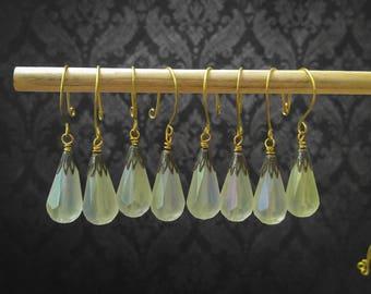 Set of 8 Green and Gunmetal Drop Ornaments