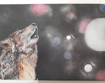 """Howling"" Wolf howling, acrylic painting on canvas 50x70cm"