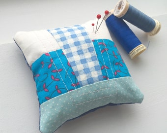 Blue Quilted Patchwork Pin Cushion | Pincushion