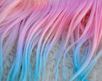 Weft Mohair Straight Pink to Turquoise Cotton Candy Ombre