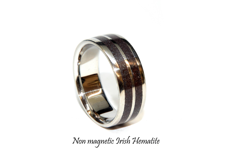 Hematite ring none magnetic Irish Hematite rings for men and