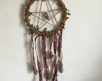 Handmade Pentacle Dreamcatcher: Crystal, Tassel and and Charm