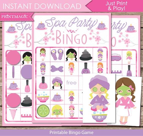 Spa Party Bingo Printable Party Game Spa Birthday Party Game