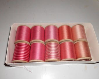 10 Vintage Spools French Cotton Thread Pinks Corals Two Variegated Cartier Bresson Retors Brillante 7 Unused 3 Partially Used