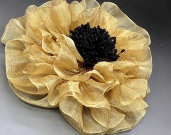 Gold Metallic Millinery Flower Applique