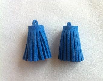 Set of 2 ponpons suede tassel bag of 3 cm