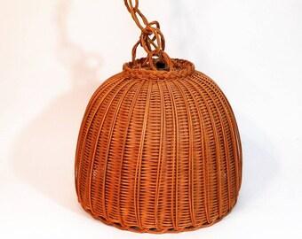 Vintage Wicker Swag Lamp