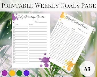 Weekly Planner Page Printable, Kikki K Inserts, Printable Weekly Planner, Printable Planner Pages A5, Printable Inserts, Filofax Inserts