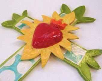 Ceramic Cross with ex voto sacred heart Cinco de Mayo pottery folk art with colorful polka-dots