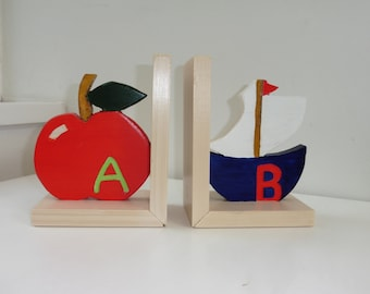 A for Apple B for Boat Bookends