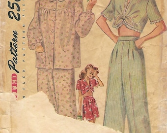 1940s Simplicity 2208 Vintage Sewing Pattern Misses Long Pajamas, Short Pajamas Size 14 Bust 32