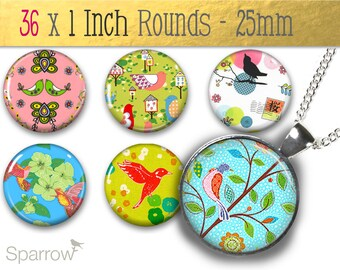 Floral Songbird Patterns -One Inch (25mm) Round Tile Images - Digital Sheet - Pendant Images - 1x1 Inch Bottle Cap Images - Buy 2 Get 1 Free