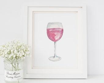 Watercolor Wine Glass Painting | Red Wine Print | Wine Decor | Wine Lover Art | Gift for Wino | Kitchen Decor | Bar Decor | Wine Art