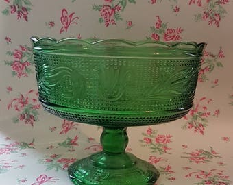 Vintage Green Pedestal Compote/Fruit Bowl, Sandwich Pattern