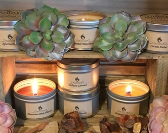8 oz Tin Soy Wood Wick Candles