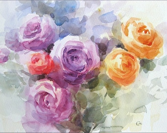 Ranunculi - Original Watercolor Painting Flowers Mother's Day 9x13 inches