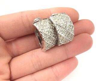 Vintage Pave Rhinestone Half Hoop Clip On Earring // Demi Hoop Clip Earring // Rhinestone Clip Earring