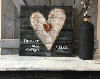"5th WEDDING ANNIVERSARY GIFT, fifth Anniversary, gift for him,  5th Anniversary gift for her, Wood Anniversary gift, 14"" x 14"""