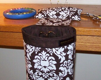 Thread Catcher, Scrap Caddy, Scrap Bag, Pincushion - With Rubberized Gripper Strip - Michael Miller Dandy Damask - Brown and White