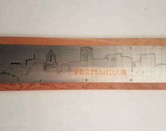 Portland skyline illustration in stainless steel and copper on wood, wall hanging, Portland Oregon, PDX