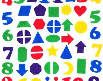 Felt Numbers &  Geometric Shapes - 144 piece set - Felt Number Shapes - Felt Board - Flannel Board
