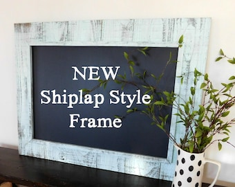 Large FRAMED CHALK BOARD - Rustic Chalkboard Decor  -  Shiplap Style  Frame - Black Board - Shown in Mint - 30 x 40 - More Colors Available