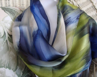 Scarf, Silk, Women, Hand Dyed, Blue Lagoon Silk Scarf, Blue Havanis Blueberry Chartreuse