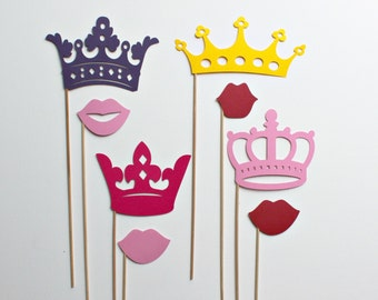 Pretty Princess and Crowns Photo Booth Props - Eight Princess Wedding and Birthday Photobooth Party Props