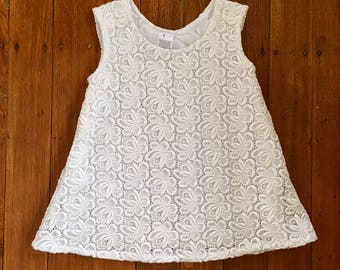 """Vintage pinafore dress, White dress for girls, size 2.   """"READY TO SHIP"""""""