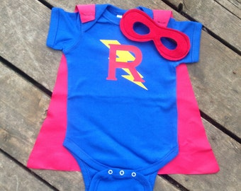 Personalized Superhero Baby Outfit Boys Bodysuit with Cape and Mask Custom Birthday or Party Super Hero with Lightening Bolt and Initial