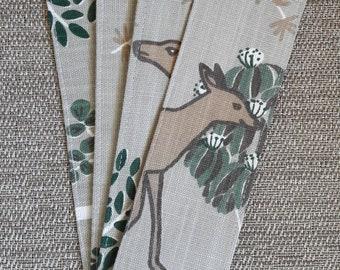 Bookmark, Fabric Bookmark, Deer Bookmark, Reading Gift, Anytime Gift, Book Lover Gift, Book Club Gift, Birthday Gift, Teacher Gift