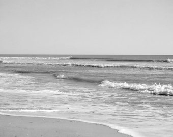 Grey photography, white and grey ocean photograph, sea art print, seascape picture, modern wall art beach print 18x24, seashore wall decor