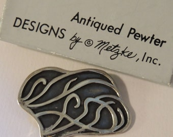 METZKE Antiqued Pewter Brooch in Original box