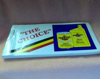 Vintage Notepad Pennzoil Advertising