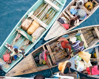 Colorful boats in Malawi, Africa, photography