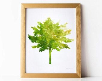 Leafy tree art print, Nature print, Green tree wall art print, Nature wall decor, Tree decor Wall print, Tree Download Printable wall decor