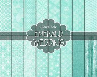 "Emerald digital paper: ""EMERALD WEDDING"" with emerald green damask, lace, quatrefoil, flowers, hearts, polka dots, triangles, linen, wood"